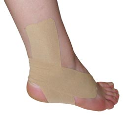King Brand® Beige Support Tape Applied to an Ankle & Foot