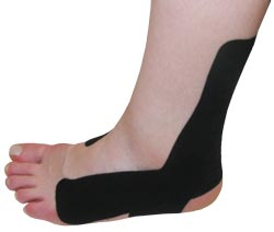 King Brand® Black Support Tape Applied to an Ankle & Foot