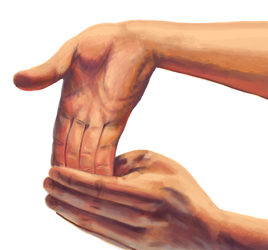 An illustration of someone stretching their fingers